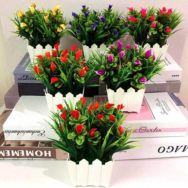 פרחים מלאכותיים חג המולד המפלגה דקור פו מזויף פרחי חתונת בית עציצי פרחים דקור בונסאי