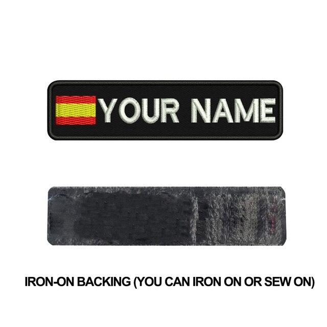 Étiquettes nom drapeau espagnol personnalisées   patch brodé en fer sur support à crochet