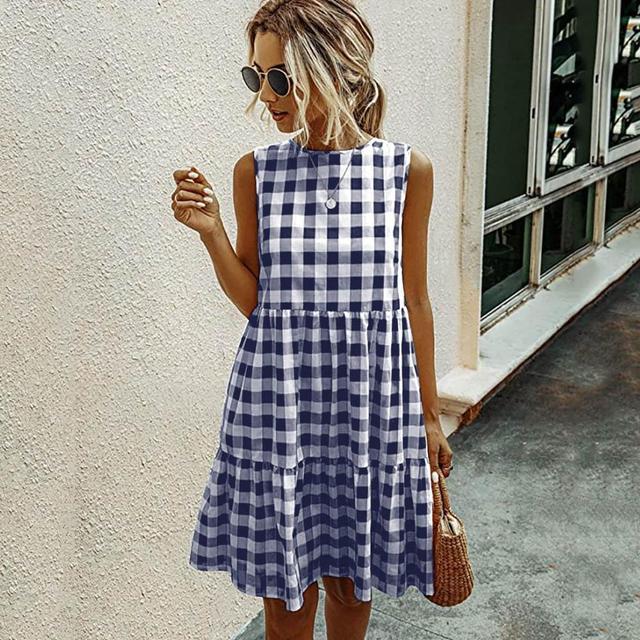 Summer Women/'s U Collar Round Neck Button Flare Tank Dress Beach A-Line Dress
