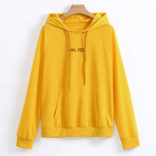2019 Autumn Winter Oh Yes Letter Harajuku letter Print Pullover Thick Loose Women Hoodies Sweatshirt Female Casual Coat