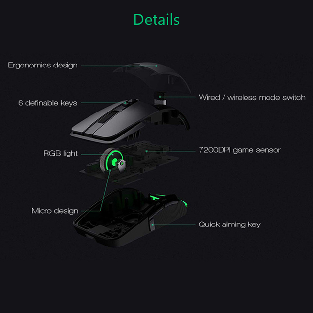 Original Xiaomi Wireless Mouse Gaming USB 2.4GHz 7200DPI RGB Backlight Rechargeable Computer Mouse Gamer Optical 5