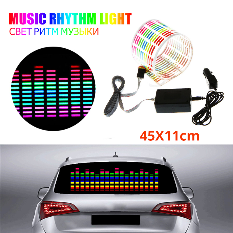 45x11CM Car Sticker Music Rhythm LED Flash Light Lamp Car Rear Windshield Decorative Light Sound Activated Equalizer 12V