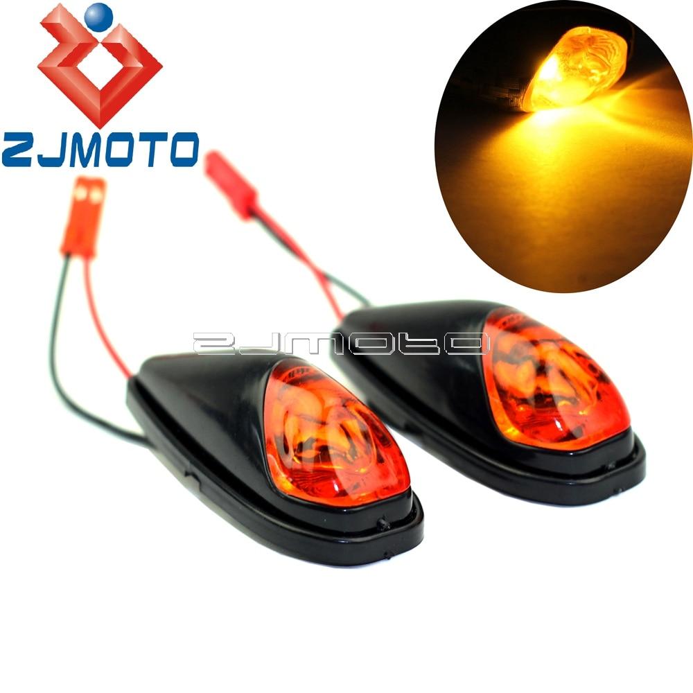 Motorcycle Mini LED Turn Signals Amber Light Turn Indicators Side Blinkers For Honda Yamaha Suzuki Kawasaki KTM