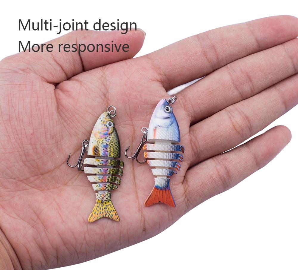 8PCS//Lots Multi Jointed Fishing Plastic Swimbait Crankbait Treble Hook Hard Bait