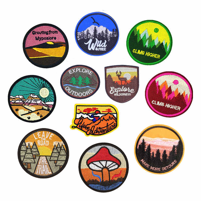 Ijzer Op Ronde Patch Outdoor Berg Bomen Patches Voor Kleding Stickers Op Kleding Heat Transfers Toepassingen Diy Applicaties