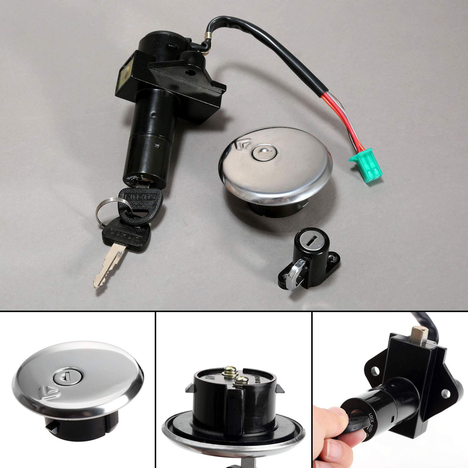 Motorcycle Lockset Aluminum Ignition Switch Lock Fuel Gas Cap Cover  Seat Lock Keys For Suzuki GN250 1985-2001 GS750 1980