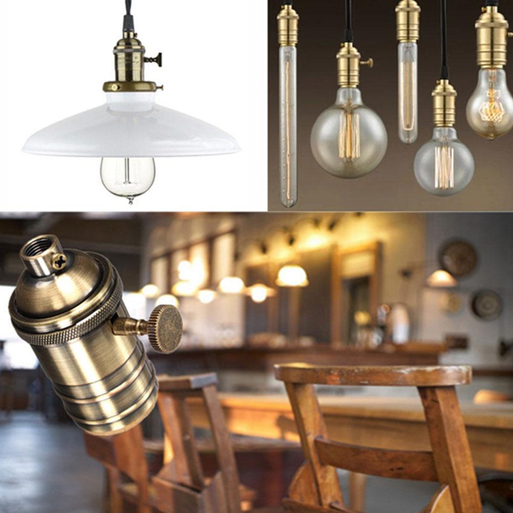 E26/E27 Vintage Retro Copper Pendant Lamp Holder Thread Socket Screw With Switch