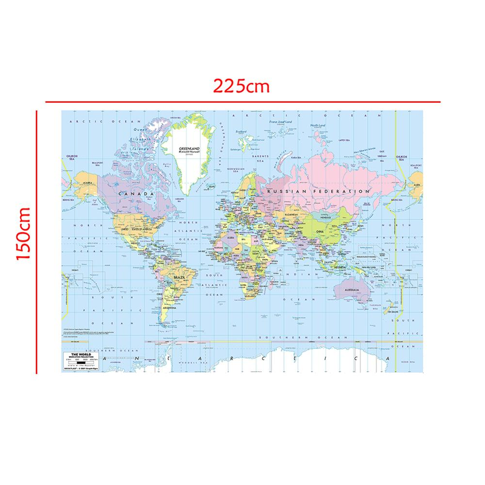 150x225cm World Map Mercator Projection With River Callout Non-woven Waterproof World Map Without National Flag