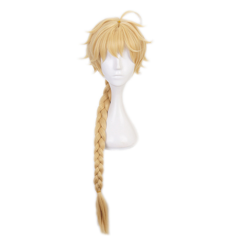 Genshin Impact Cosplay Aether Traveler Golden Braid Heat Resistant Synthetic Hair Wigs Halloween Carnival Party Role Play