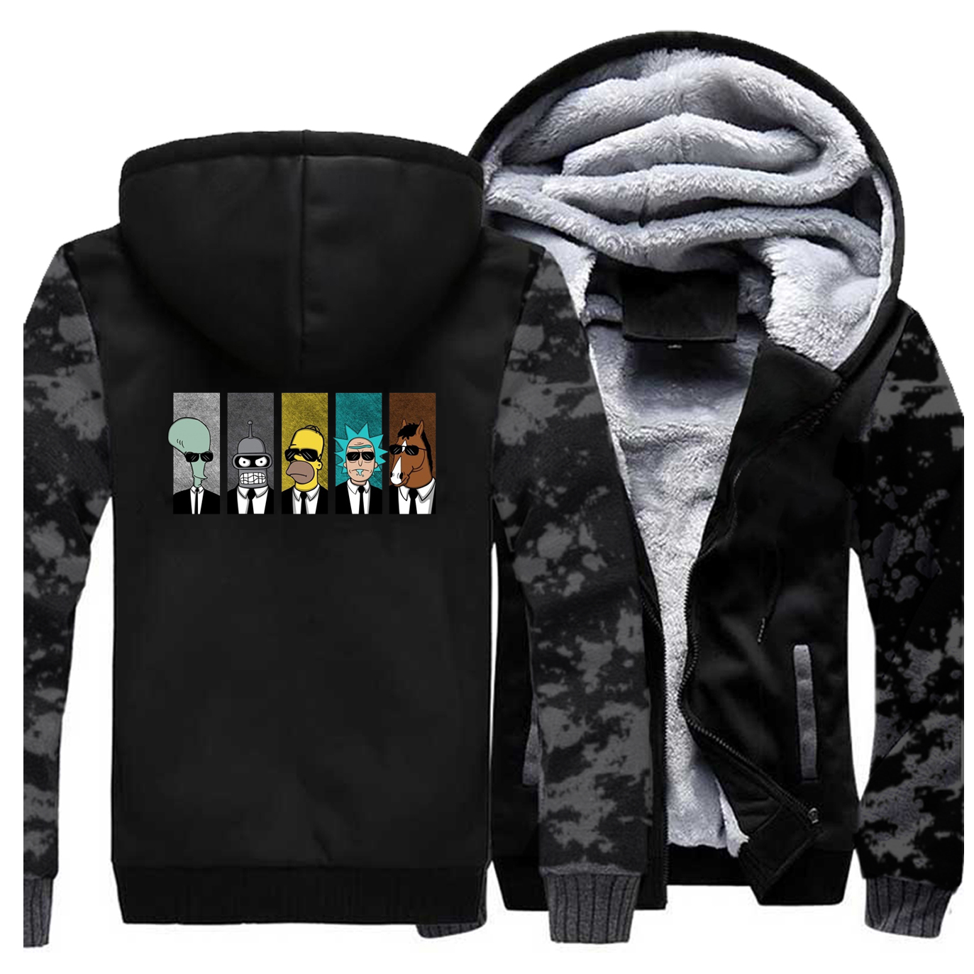 Men Funny Winter Thick Jacket Rick And Morty Fleece Warm Coat Doctor And Mharti Coats Male Thicken Sportswear Swearshirt Jackets