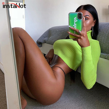 InstaHot Turtleneck Green Sweater Thin Crop Top Skinny Long Sleeve Autumn Winter Casual Jumpers Women Sexy Pullover