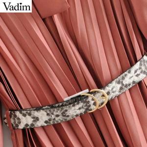 Image 4 - Vadim женское платье с галстуком бабочкой и воротником, змеиный принт, пояс, дизайн, рукав три четверти, элегантные женские повседневные платья, vestidos QD113
