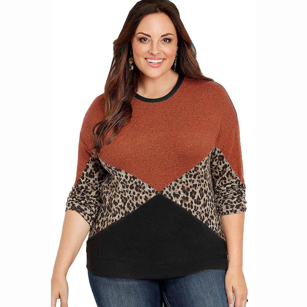 Leopard Contrast Color Casual Blouse Plus Size 5XL Women Autumn Winter Long Sleeve Tunic Tops Large Size Big Size Ladies Tops