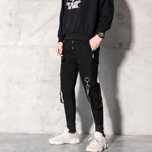 2019 Men Streetwear Pants Black Harem Pants Light Men Punk Pants Ribbons Casual Slim Jogger Pants Men Hip Hop Trousers LBZ138 31