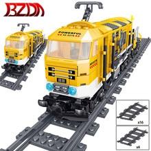 Bzda high-tech brinquedos trem série a pilhas elétrico trem blocos de construção cidade carga de frete com faixas modelo presentes