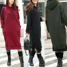 Women Long Sleeve Sweatshirt Shirt Dress Casual Hoodied Hooded