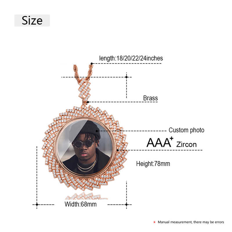 New Arrival Custom Photo Memory Medallions Pendant Necklace For Men's Hip Hop AAA Crystal Personalized Cubic Zircon Dropshipping