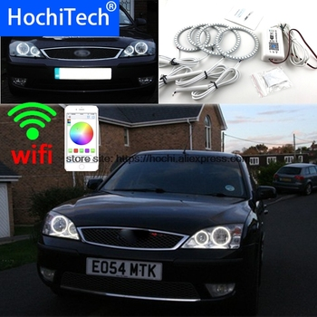 HochiTech Excellent RGB Multi-Color halo rings kit car styling For FORD Mondeo MK3 2001-2007 angel eyes wifi remote control