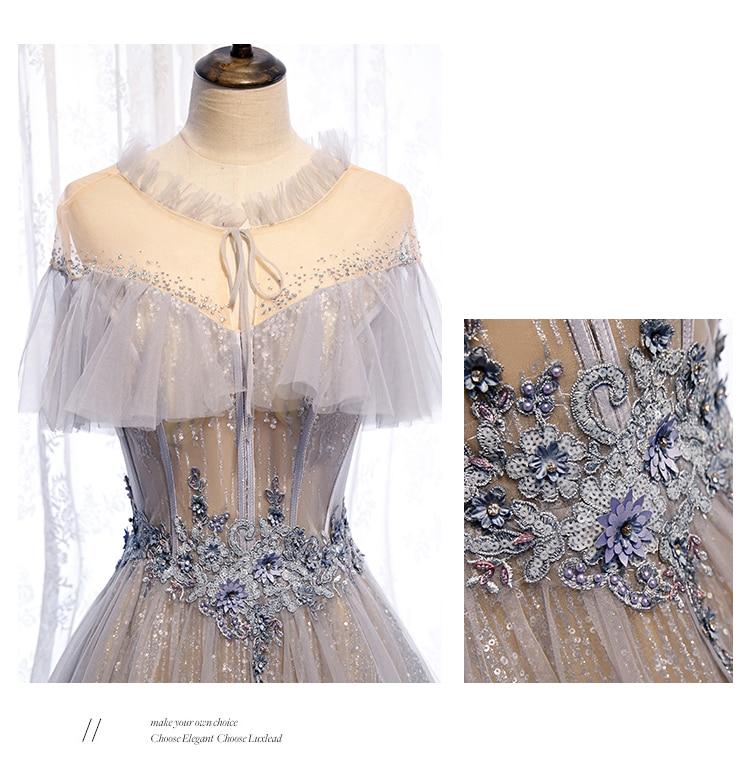 light grey rhinestone ruffled veil collar vintage baroque ball gown Renaissance Gown queen Victorian/Marie Antoinette Belle