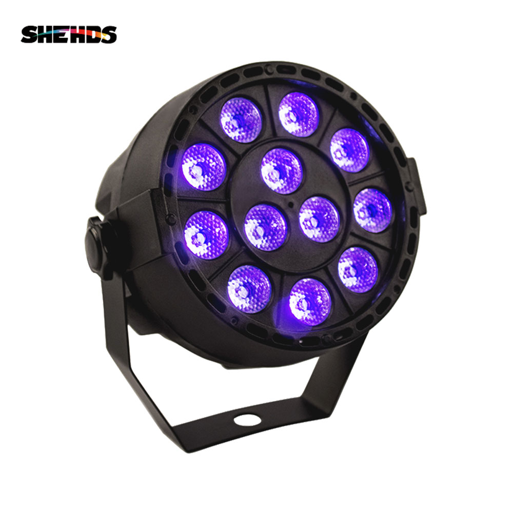 SHEHDS LED Flat Par 12x3W Violet Color Lighting UV With DMX512 For Disco DJ Projector Machine Party Decoration Purple