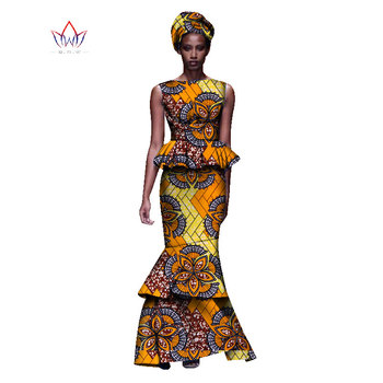2020 New African Dresses For Women Dashiki Ladies Clothes Ankara O-Neck Africa Clothes Two Pieces Set Natural 6xl None WY1054 - 15, M