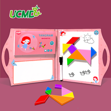 Magnetic Jigsaw Puzzles Brain Teasers Game Grils Tangram Puzzle Drawing Board Montessori Teaching Aid Learning Educational Toys