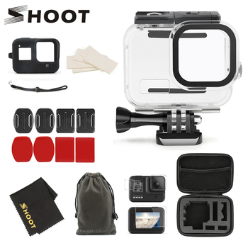 SHOOT for GoPro Hero 8 Black Action Camera 60M Waterproof Case Accessory Set Protective Cover Housings Mount for GoPro 8 Camera