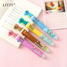 Kawaii Multicolor Ballpoint Pen Cute Dinosaur 10 Color Gel Pens Cartoon Animal Signing Pen Student Stationery School Supplies diamond ballpoint pen japanese cartoon sailor moon pen goddess scepter kawaii pen student pennen pink cute girl ball point pens