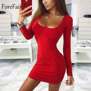 Image 3 - Forefair Manica Lunga Sexy Vestito Aderente Donne 2019 Club Autunno di Base Solido Collo Quadrato Bianco Rosso Nero Donna Mini Vestito inverno