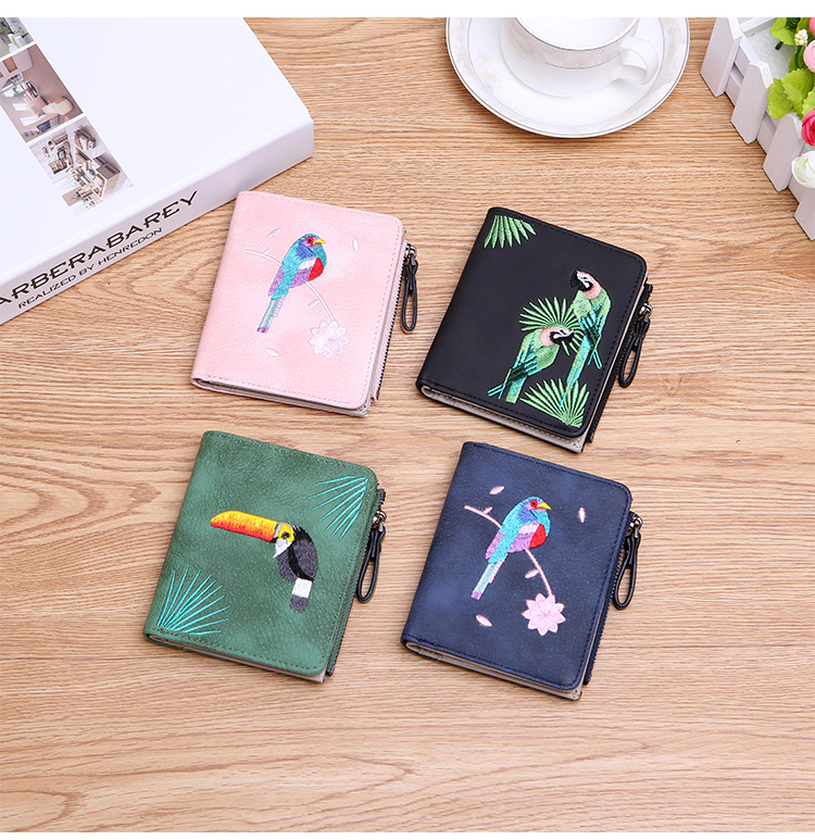 H2e15cd7dff7a48ad8b468a0200dab432z - Women's Coin Wallet | Bird Embroidered