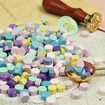 Ośmiokątne koraliki woskowe do pieczęci 100 szt Pieczęć pieczęć woskowa Vintage pieczęć woskowa znaczek koralik do koperty ślubna woskowa pieczęć pieczęć woskowa łyżka tanie i dobre opinie CN (pochodzenie)
