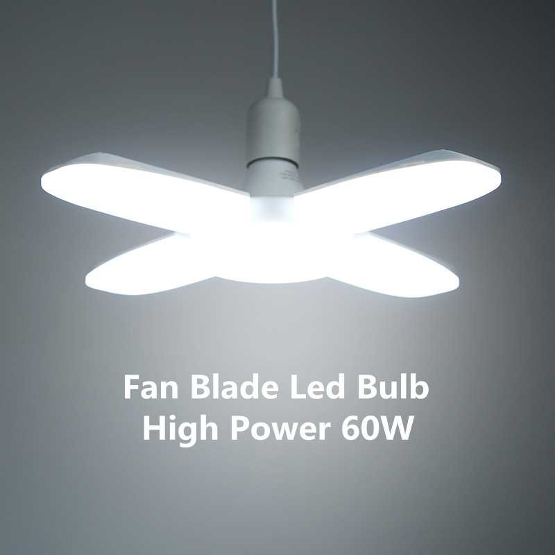 E27 LED Light Bulb 220V Led Bulb High Power 30W 40W 60W Led Bulbs Adjustable Fan Blade Bulb Light Lamp For Home Garage Lighting