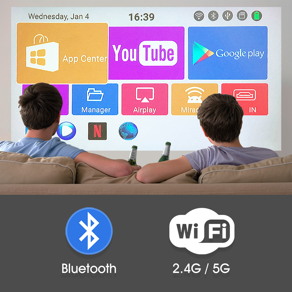 Alston c6 mini 4k dlp android 9.0 projetor wifi bluetooth 4.0 portátil ao ar livre filme de vídeo cinema em casa apoio miracast airplay-2