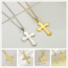 Skyrim Cross Necklace for Women Men Stainless Steel Gold Color Christian Jesus Amulet Choker Chain Necklaces Jewelry Wholesale