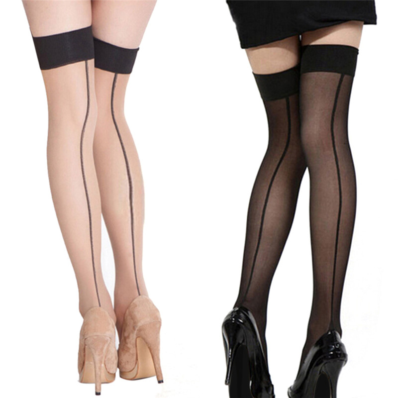 Sexy Lace Thigh High Stocking For Women Back Seam Heel Stockings Black Line Over Knee Stockings