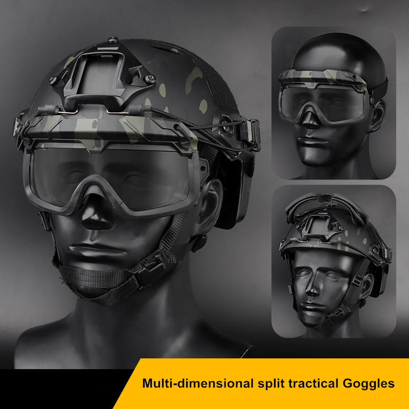 Multi-dimensional Split Tractical Goggles Safety Clear Glasses Shooting CS Game Anti-fog Airsoft Paintball Eyewears