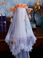 Orange Flower Leaf Wedding Veils With Comb Bridal Short Veil For Women Evening Dress Bride Accessories Party Hair Jewelry