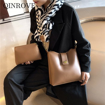 clear crossbody bag with inner pouch Solid Color PU Leather Shoulder Bags For Women Fashion Designer Vintage Composite Canvas Strap Female Crossbody Bag With Pouch