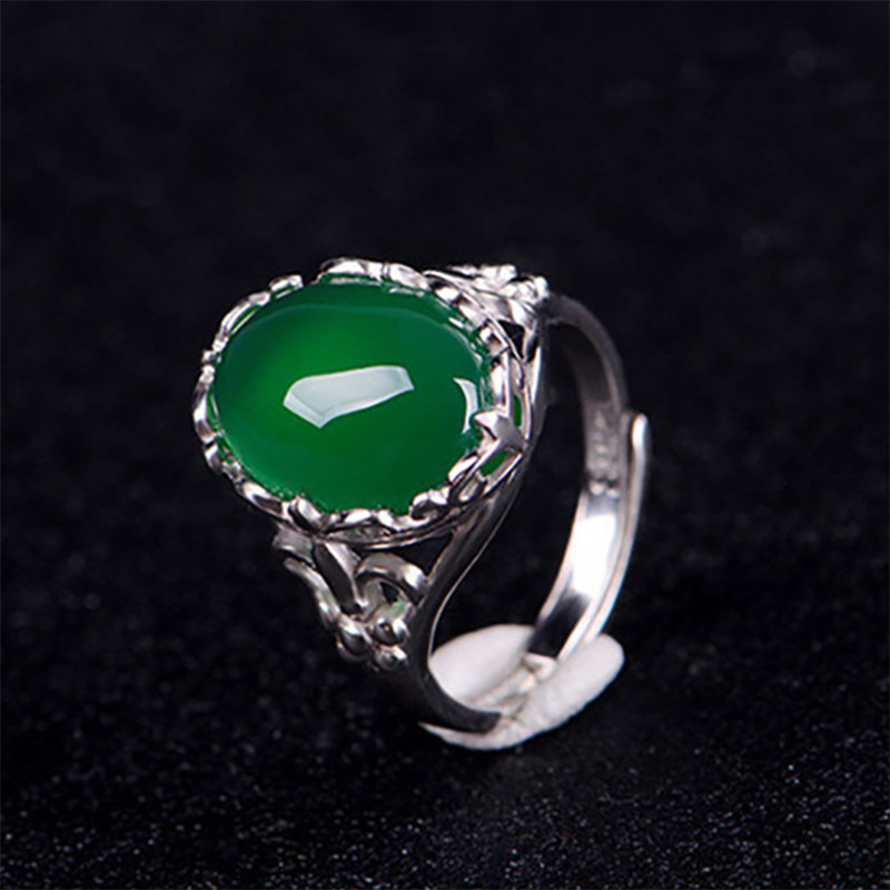 Cellacity Classic Fine Jewelry with Gemstones Silver 925 Ring for Women 15*12mm Green Chalcedony Opening adjustable Female Gift 3