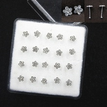 20PCS/Box White Flower Shape Women Body Piercing Jewelry Silver Nose Studs  Mix Color Crystal stone Ring