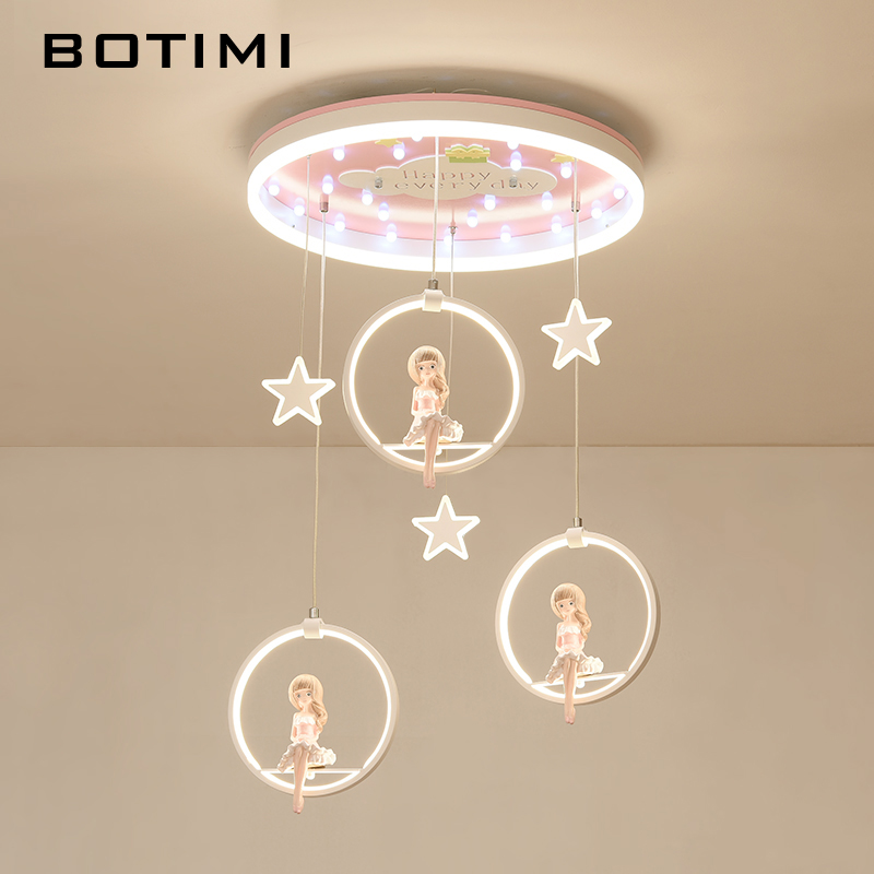 BOTIMI New Arrival Cartoon LED Pendant Lights With Princess Doll For Girls Bedroom Pink Suspension Kids Lighting Fixtures