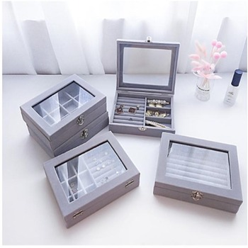 Double Flannel Jewerly Box Organizer Stackable Bead Storage Containers Exquisite Ring Necklace Jewelry Display Stand