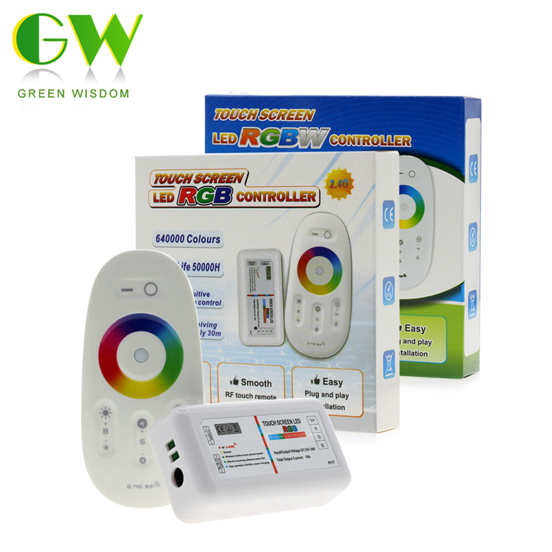 tela de toque rgb rgbw led controlador dc12 24v 2 4g sem fio rf controlador com