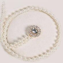 Cinturones con perlas ajustables para mujer, vestidos de talla grande de diseñador, de alta calidad, cadena de Metal, pretina decorativa