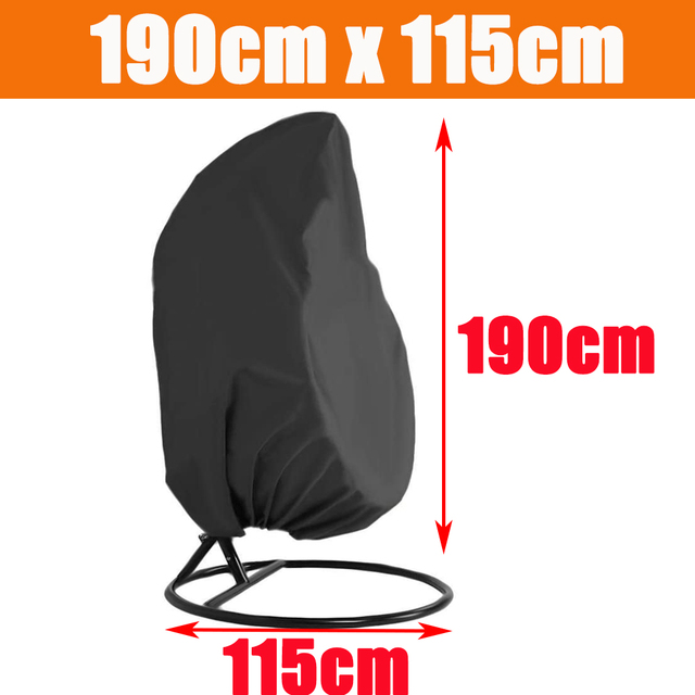 Waterproof Outdoor Garden Hanging Egg Rattan Swing Patio Chair Dust Cover With Zipper Protective Case For Outdoor Furniture 3