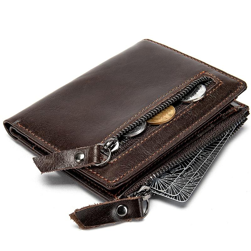 AURAY Card Men's Wallet Of Leather Male Mens Zipper Wallet Money Bag Purse Man Genuine Leather Wallet Men Wallets Leather Brand