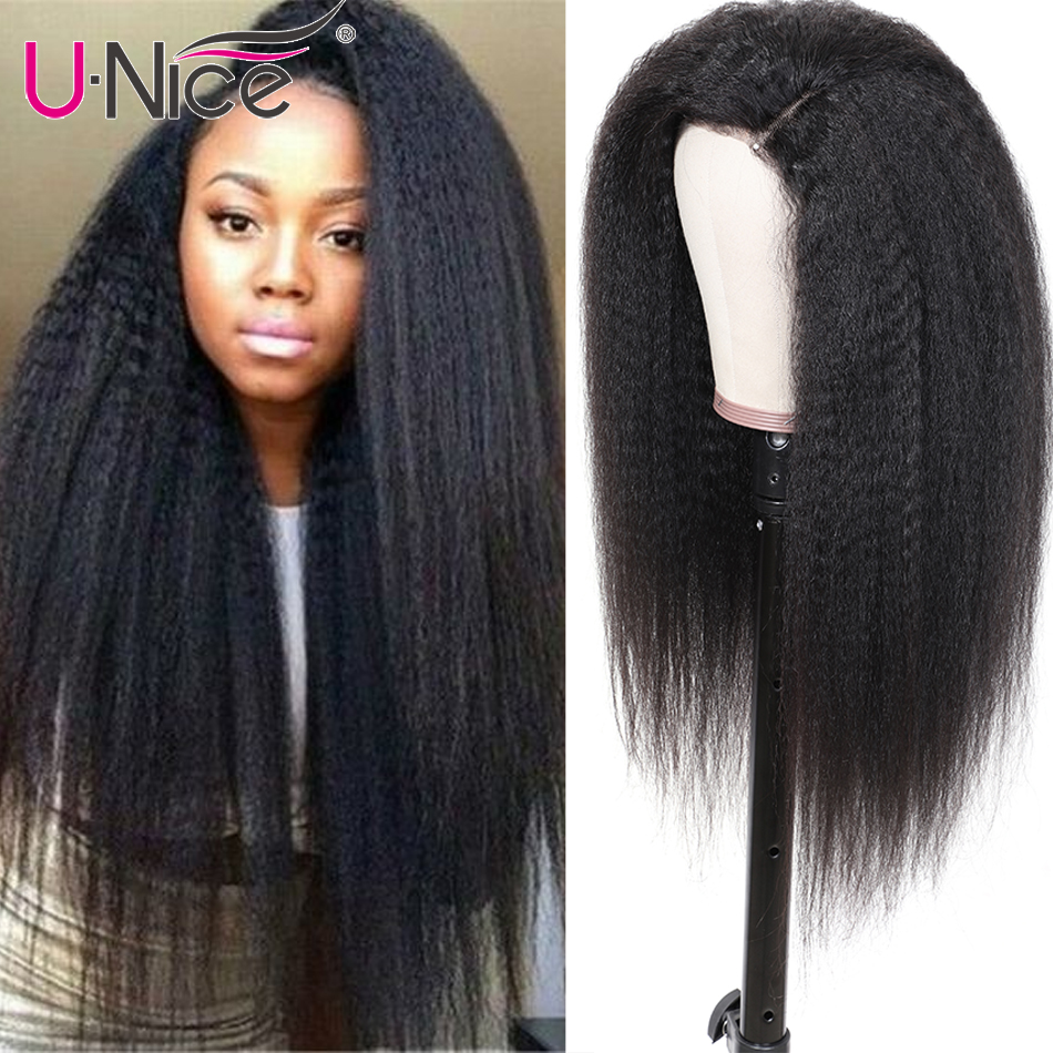 Unice Hair 13*4/6 Brazilian Kinky Straight Wig 130% Density Remy hair wigs 8-24 Inch Natural Color Lace Front Human Hair Wigs image
