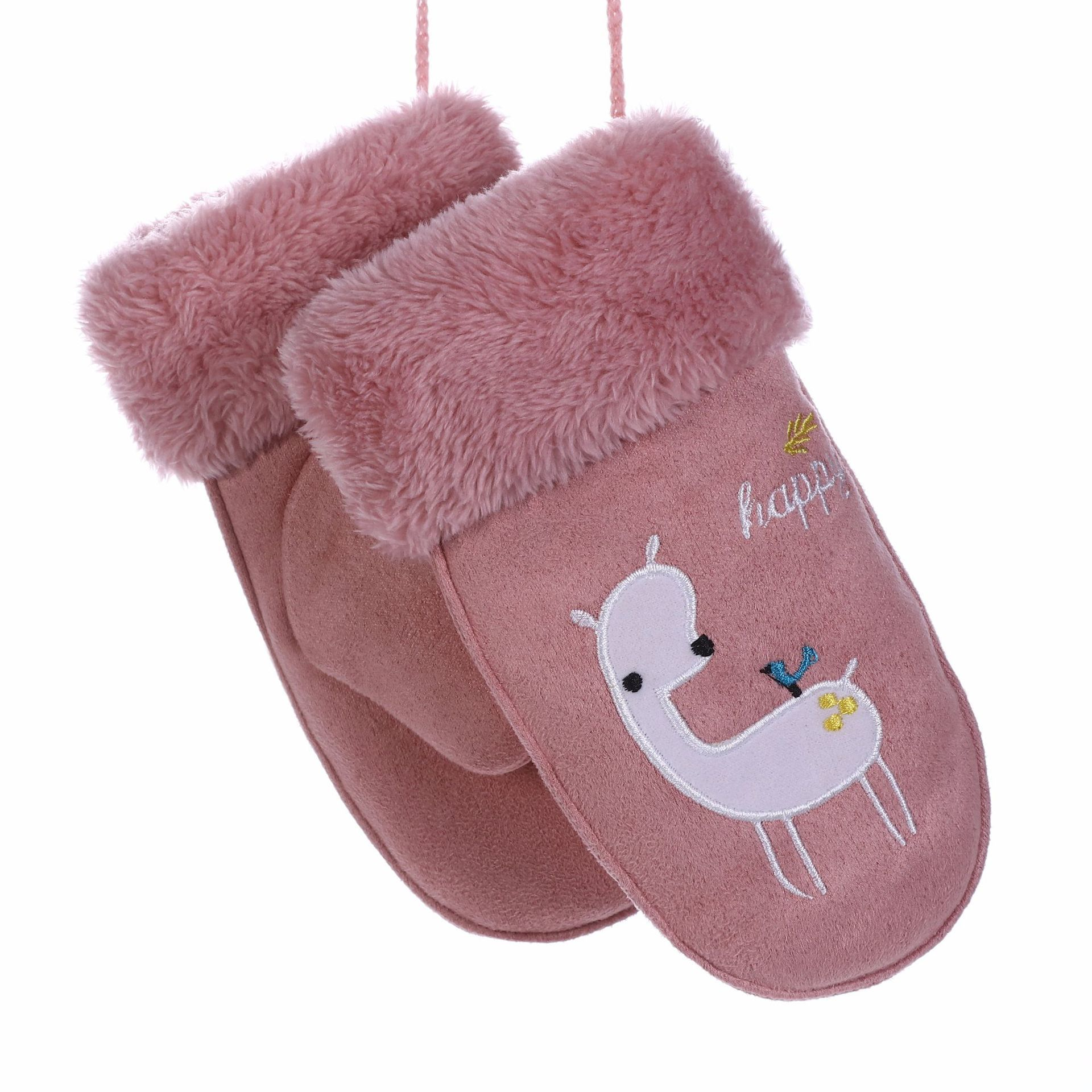 Children's Winter Gloves Cartoon Bear Leather Gloves Plus Velvet Thicke Warm Lanyard Mittens Guantes Invierno Luvas De Inverno