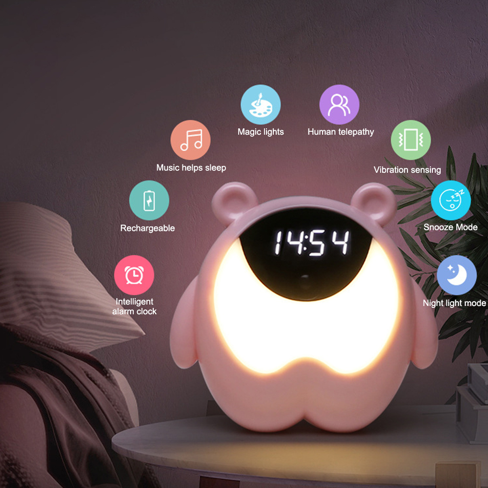 Cute Bear Time Bedside Alarm Clock Night Light RGB Wake Up Motion Sensor Music Lamp For Kids Gifts Baby Children Bedroom Decor