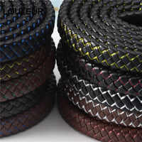 LOULEUR 12mm New Men Jewelry Punk Black Blue Braided Leather Cord for Men for Leather Bracelet Jewelry Making